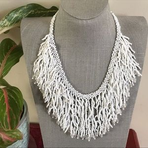 White seed bead statement necklace